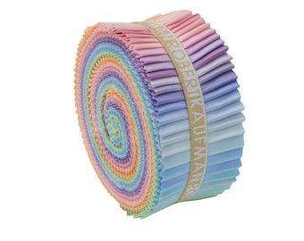 "Robert Kaufman Kona Cotton Solids NEW PASTEL Roll Up 2.5"" Fabric Strips Jelly Robert Kaufman RU-230-41"