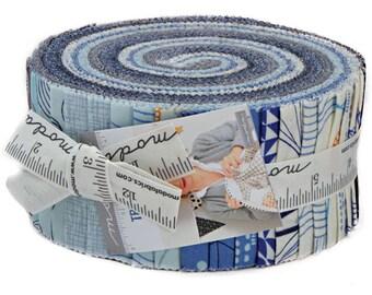"SALE 20% Off Moda TRUE BLUE Jelly Roll 2.5"" Precut Fabric Quilting Cotton Strips Zen Chic 1620JR"
