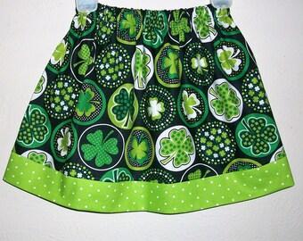 St Patricks Day Skirt Girls Skirt with Shamrocks Skirt with Clovers Irish Festival Green Skirt Clover Skirt Shamrock Dress