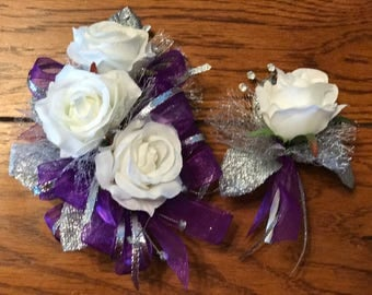 Purple and Silver Corsage Set
