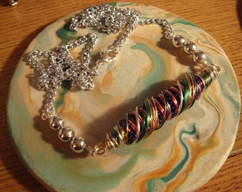 A Burst of Colors/Beaded WireBead Pendant with a Cut Silver Chain Necklace - one of a kind!