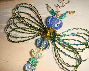 "My #9073 A Bug-Eyed Blue/Green Alien Fluttering Dragonfly!.. Etched Lampwork bead - Ornament! Size around 3.5""Wx4.5""L"