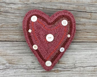 Primitive Rug Hooking - Hand Hooked Pink Heart Pillow with Vintage Buttons - Folk Art Home Decor and Accents