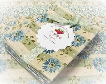 Quilt Fabric Bundle | 5 Fat Sixteenths Mixed Tilda Bundle | Quilt Stash Builder | Blues - Greens - Teal Florals | Small Prints Fabric