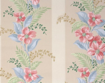 1940s Vintage Wallpaper by the Yard - Floral Wallpaper with Pink Dogwood Blue Leaves and Green Fern