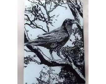 Crow, Raven Glass cutting board, crow trivet, raven trivet,crow glass,crow art, raven art glass,bird gift, crow gift, winter raven, corvidae