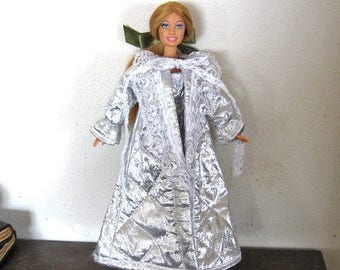 ON SALE Barbie Clothes Silver Shiny Robe and Gown Set