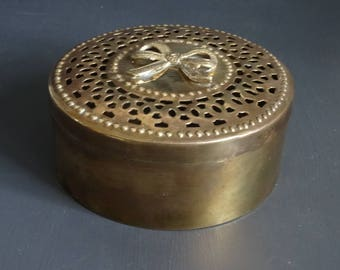 Brass Pierced Container Box Potpourri Brass Trinket Box