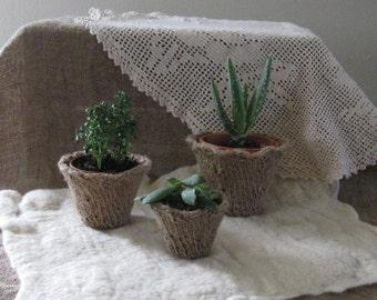Jute Planter/Hand Knitted/Original/Choose Sm Med Lg/Home Decor/Spring/Garden/Ready to Ship