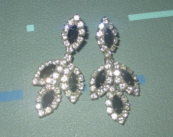 Vintage Showy Black and Clear Rhinestone Cluster Dangle Earrings