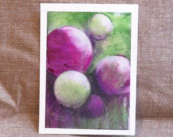 Original Abstract Painting - Watercolor - Geometric Circles - Red Violet and Lime Green - 5x7 Inch - Home Decor