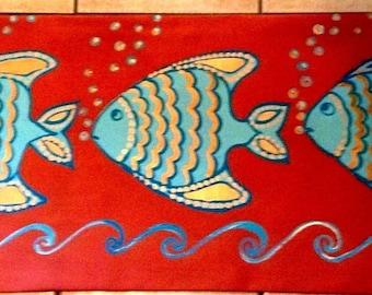 Art Deco Fish FLOORCLOTH / Hand Painted Rug / Art Deco / Aquatic / Metallic Gold/ Terra Cotta / Turquoise / 2' x6' / Runner