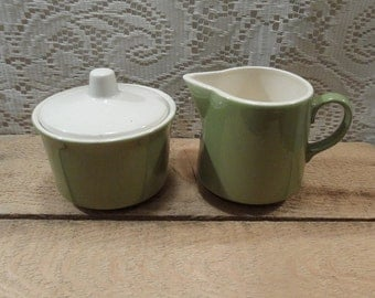 Vintage green ceramic sugar bowl and creamer set