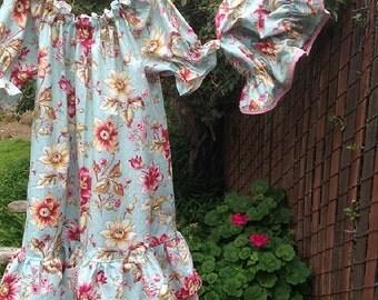 SALE - Prairie Nightgown Mob cap Girls 4T - 5T  Vintage Flowers Cotton Double Ruffles Ready now!