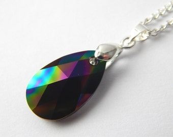 Dark Rainbow Swarovski Teardrop Necklace - Rainbow Crystal - Swarovski Elements - Petrol Shimmer Crystal - Multicoloured Crystal Teardrop
