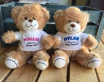 Will You be My Flower Girl, Ring Bearer, Set of 2 Small Bears, Flower Girl or Ring Bearer, Stuffed Teddy Bear, Custom Tshirt, Personalized