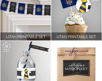 INSTANT DOWNLOAD - UTAH -  Missionary Farewell Welcome Home Decoration Printable Set for Elders