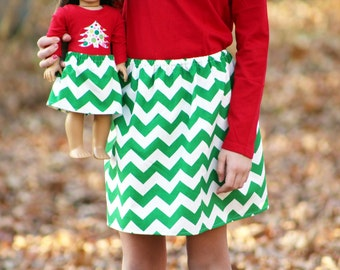Matching Girl and Doll Clothes Fits American Girl Doll - Christmas Chevron Skirts in Green, Sizes 1T, 2T, 3T, 4T, 5T, 6, 7, 8, 10, 12, 14