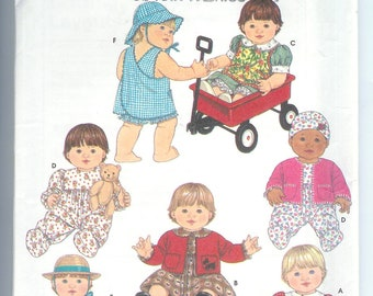 Simplicity Crafts Baby DOLL  Clothes Wardrobe for 3 Sizes Small-12-14 Inches  Medium-6-18 Large-20-22 Sewing Pattern 7992