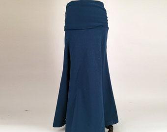Alena Designs - Skyris - Long fit & flare women's maxi skirt fold over waist organic cotton Teal