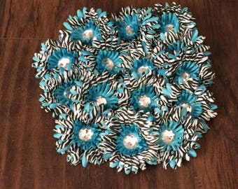 75% OFF- Turquoise Zebra Gerbera Daisy Flower Head Only w/ Jeweled Center