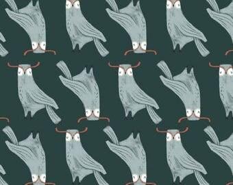 Dear Stella Folkwood Friends Owls Emerald Fabric