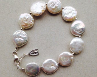 Cultured Pearl and Silver Rosary Bracelet