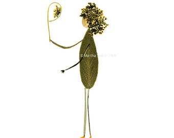 Petal People - Pressed flower art - Blank greeting card of person looking in the mirror - Created from sage, Queen Anne's Lace, Curry