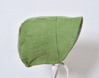 Reversible Baby Bonnet Sun Hat Eco-friendly Washed Moss Green Linen