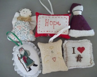 Christmas Ornaments ~ Cross Stitch Ornaments ~ Handmade Christmas Ornament Assortment
