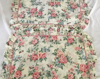 2  Pillow Shams Ivory with Pink Roses Shabby Chic Bedroom Lace Fabric Ruffle Pink Standard Pillow  size  gift