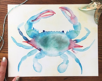 Crab Art. Watercolor Crab. Blue Crab Art Print. Beach Decor. 8x10 Art Print. Nautical Art. Home Decor. Gift Under 20. Ready to Frame