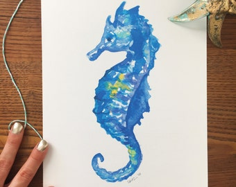 Sea Horse Art. Watercolor Sea Horse. Sea Horse Art Print. Beach Decor. 8x10 Art Print. Nautical Art. Home Decor. Ready to Frame. Under 20