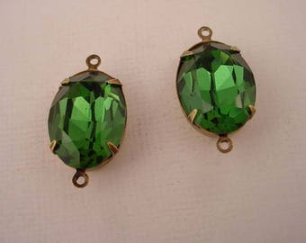 2 vintage Swarovski rhinestone glass green Tourmaline oval 18x13 brass ox  setting 2 ring charms connectors