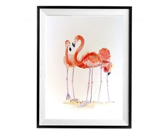 Flamingo Print Zoo Animal Watercolor Art Pink Flamingos Coral Painting Kitchen Wall Art Decor Bird Prints LaBerge r