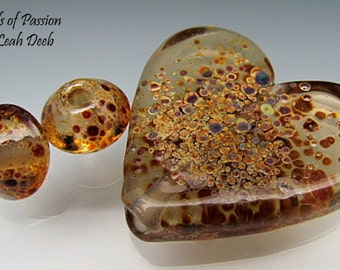 Handmade Glass Beads of Passion Heart Focal - 3pc Unique Speckled Chunky Amber