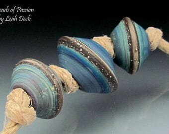 Handmade BHB Glass Beads of Passion Leah Deeb - 3pc Rich Tie Dye Big Hole