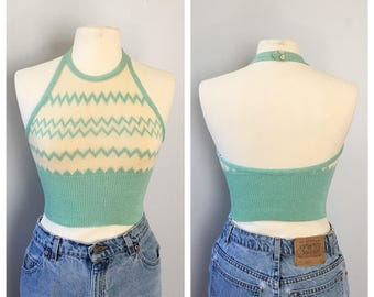 Vintage 1979s knit halter top xsmall