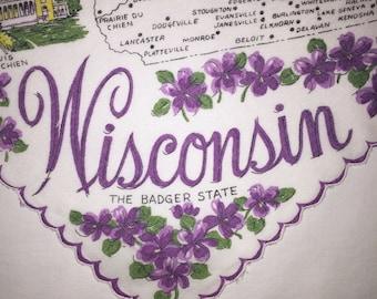 Vintage Wisconsin Hanky - Hankie Handkerchief