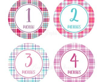 Monthly Baby Stickers Baby Girl Growth Decals Infant Month Stickers Baby Shirt Stickers Baby Shower Gift Bright Colors Plaid Decals Pink