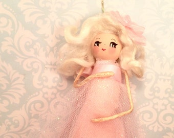 Mother to be ornament expectant mother doll pregnant pink blond girl vintage retro inspired christmas keepsake ornament baby shower decor