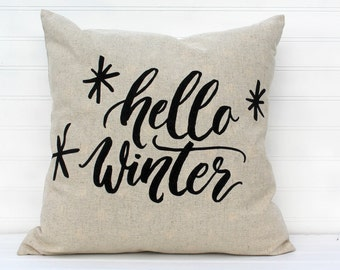 Hello Winter Pillow Cover, Winter Pillow, Modern Pillow, Sofa Pillow