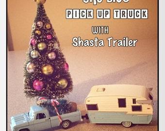 Sky Blue Dodge Pick Up Truck & Shasta Trailer -