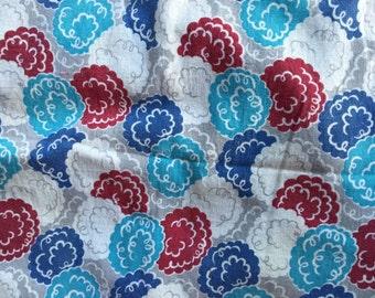 Vintage Aqua and Blue Print Flour Sack Feedsack Fabric (No Longer a Sack)