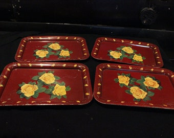 Set of 4 Vintage Red with Yellow Roses Metal Trays