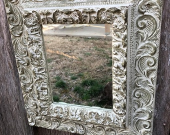 Vintage Ornate Off White and Gold Gesso Painted Frame with Mirror