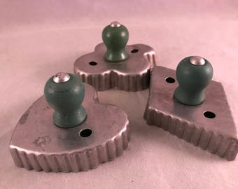 Set of 3 Vintage Aluminum Cookie Cutters with Green Wood Knobs Handles