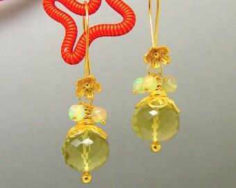 Lemon Topaz Round Ethiopian Opal  Flower Chandelier Gemstone Earrings in Vermeil Sterling Silver