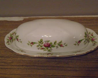 Vintage covered butter dish, Traditions fine China, Johann Haviland China,  Moss Rose white with pink roses and green leaves edged in gold