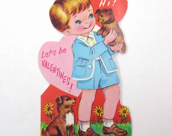 Vintage Children's Novelty Valentine Greeting Card with Cute Little Boy and Dogs Puppies